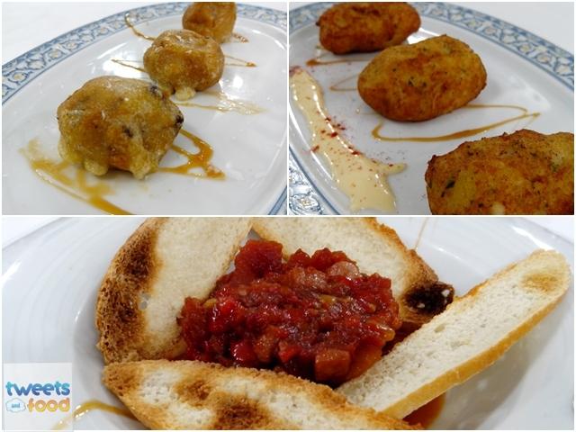 Entrantes -croquetas bacalao, buñuelos calabaza y titaina