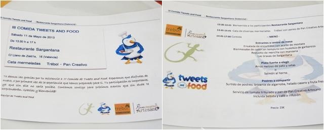 Menú TweetsAndFood y Restaurante Sargantana