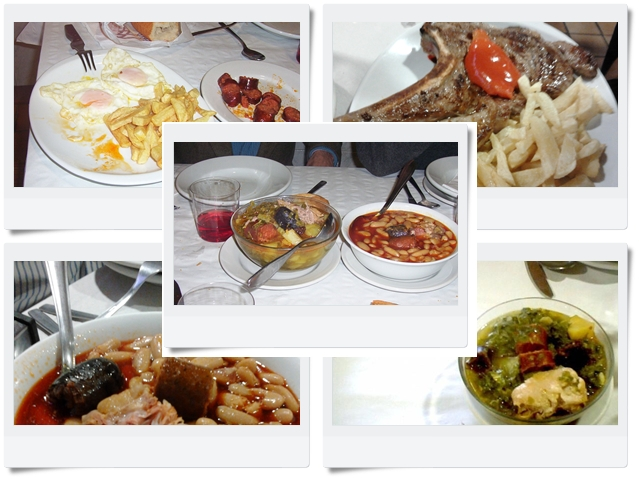 Fabada, Pote Asturiano, huevos fritos con patatas, chuletón