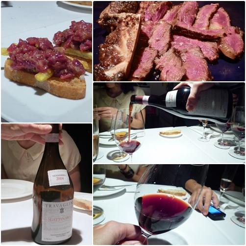 Steak Tartar con Travaglini y Chuleta vacuno con Gosset Gran resseva